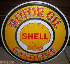 "SHELL MOTOR OIL/ GASOLINE , ROUND 12"" METAL WALL SIGN OIL/PETROL/GAS,USA"