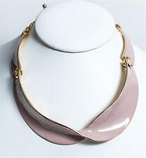 Clara Kasavina Twist Collar Light Pink Enamel/Pale Gold Necklace