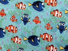 Disney Pixar Finding Dory 100% Cotton Fabric - Aqua Fabric with Dory & Nemo