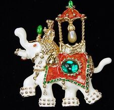 HUTTON WILKINSON Enamel ELEPHANT Faux Pearl Emerald Cabochon Dangle Pin Brooch