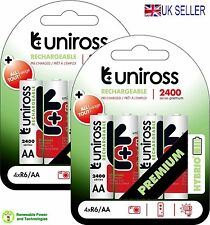 8 X Uniross Hybrio Ready to Use Pre-charged AA 2400 NiMH+ Rechargeable Batteries