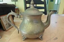 Vintage Teapot EPNS silver plate antique etched tea or coffee kettle footed