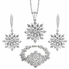 SILVER TONE 14K CRYSTAL SNOWFLAKE NECKLACE EARRINGS BRACELET SET