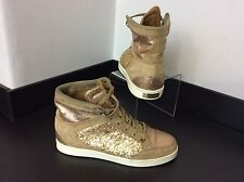 JIMMY CHOO HIGH TOPS boots Uk Size 4, 37  Gold Glitter Tokyo Sneakers Baseball