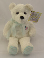 """SALVINO'S BABY BAMMERS ~ 14"""" WHITE TEDDY BEAR PLUSH ~ Embroidered Balloons ~ NEW"""