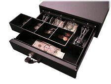 New Space Saving Compact Cash Drawer Cashier Coin Slot Black