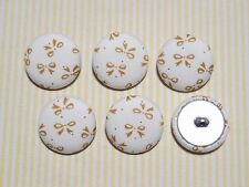 6 Ribbon Pattern Fabric Covered Buttons - Beige with Light Brown (30mm)