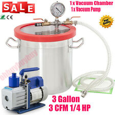 5 Gallon Vacuum Chamber and 3CFM Single Stage Pump Degassing Silicone Kit HOT OY
