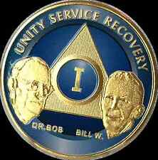 AA Founders 1 Year Chip Gold Plated Blue Alcoholics Anonymous Medallion Coin