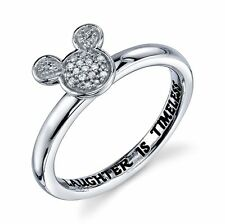 STERLING SILVER GENUINE DIAMOND 'LAUGHTER IS TIMELESS' RING 7 MICKEY DISNEY