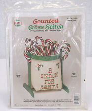 NOS Santa Snak Needlemagic Counted Cross Stitch Kit w Round Hoop & Display Stand