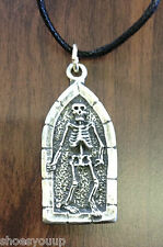 Open Coffin + Skeleton Handcrafted from Solid Pewter In The UK Pendant + Cord