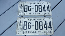 2 Car licence plate 1969 Plaque d'immatriculation Canada Québec 8G-0844