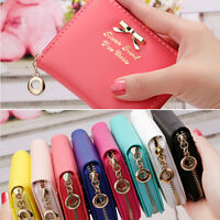 New Women PU Leather Bowknot Small Clutch Purse Zipper Wallet Card Holder Bag