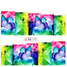 Nail Art Water Decals Stickers Transfers Neon Butterflies Water Gel Polish BN177
