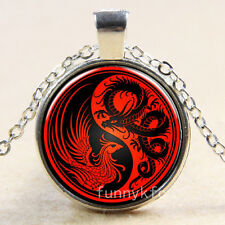 Vintage Ying Yang Dragon Cabochon Silver plated Glass Chain Pendant Necklace k1