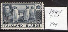 FALKLAND ISLANDS 2/6 H90c Yellowish Slat 1944 Issue . lightly hinged, verified
