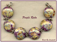 Purple Raku Lentils Lampwork Beads Glass Bead Set SRA