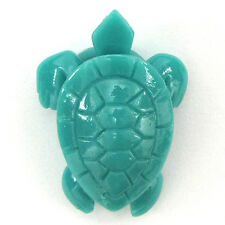 33mm synthetic green coral carved turtle pendant bead 2pcs