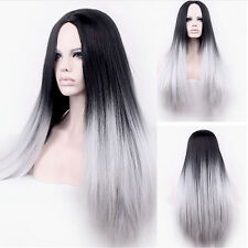 Women Long Straight Full Wig Heat Resistant Hair Black Grey Party Wigs Auction