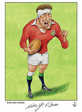 WILLIE JOHN McBRIDE CARICATURE SIGNED LIMITED EDITION RUGBY PRINT BRITISH LIONS