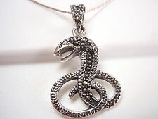 Snake with Fang Marcasite Pendant 925 Sterling Silver Corona Sun Jewelry