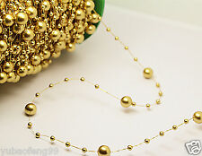 bride Party Wedding Decor Garland Acrylic pearl Bead Strand curtain 1yd gold