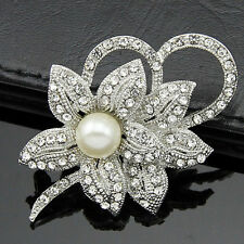 Silver Plated Rhinestone Crystal Pearl Flower Brooch Pin Badge Wedding Bridal