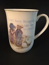 Vintage Holly Hobbie & Friend Porcelain Mug Cup Gold Trim Geese