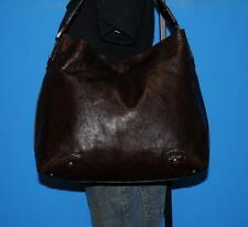 Vintage COLE HAAN X-Large Dark BROWN Leather Hobo Bucket Tote Purse Shoulder Bag