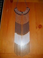 Gold Tone Three Color Chain Fringe Statement Necklace