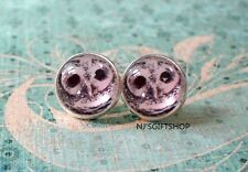 Black and white owl face stud earrings,cute gift,Glass earring stud