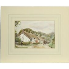 Unframed Original Devon Watercolour Painting Albert Cooper Barnstaple Cottages