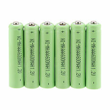 Lot of 6Pcs AAA 3A 1.2 V 600mAh NI-MH rechargeable battery - Green Color