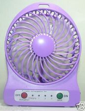 Portable Mini Rechargeable LED Light Fan With Charger Battery & USB Cable(Violet