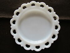 """Vintage Milk Glass Plate Open Heart Lace Scalloped Edge 8"""""""