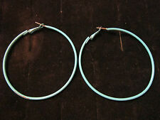 "2 5/8"" Enameled Hoop Earrings Turquoise"