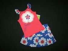 """NEW """"CORAL & BLUE FLOWER"""" Skirt Girls Clothes 6-9m Summer Boutique Baby Sesame"""