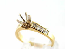 0.40 CT Natural princess cut diamond semi mount ring VS1/H 14K Yellow Gold