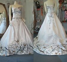 2017 Real Tree White Camo Wedding Dresses Camouflage Lace-up Bridal Gowns CUSTOM