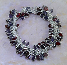 "GARNET+AMETHYST+ORANGE QUARTZ BRACELET 8-8 3/4""; M7351"