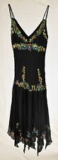 SUE WONG 2 XS black pink green floral embroidered beaded 100% silk dress