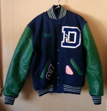 NEFF USA Wool/Leather Letterman School Jock Jacket Size M Medium Blue Green Snap