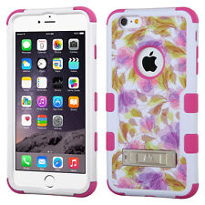 """Teal Floral Pink Hard Soft TUFF Armor Hybrid Cover Case For iPhone 6 Plus 5.5"""""""