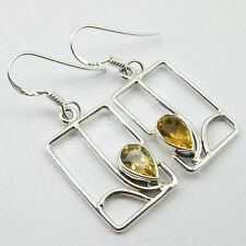 Gift Jewelry Manufacturers, 925 PURE Silver Original CITRINE ART Earrings 4.0 CM