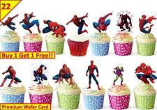 44 SPIDERMAN Edible Cup Cake Toppers Premium Wafer Birthday Party *STAND UP*