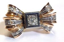 Fabulous! Super Cute! Retro 1950's Diamond 18K Gold Big Bow Ring! Size 5