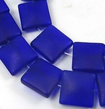 12mm Frosted Sea Glass Square Beads (13) Matte -  Dark Cobalt Blue