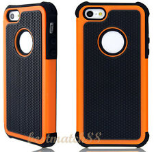 for iphone 5 5s triple layers orange black rugged heavy duty case cover skin