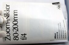 Nikon zoom Nikkor 80-200mm f4.0 Ai-s Lens Instruction Manual Guide Genuine